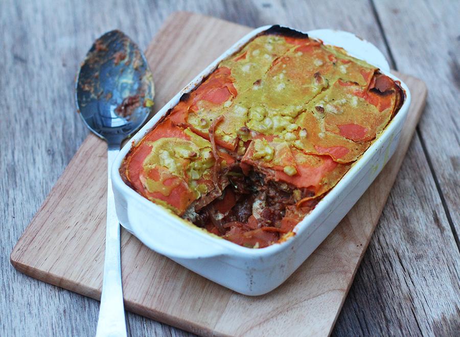 sweet potato & lentil lasagne