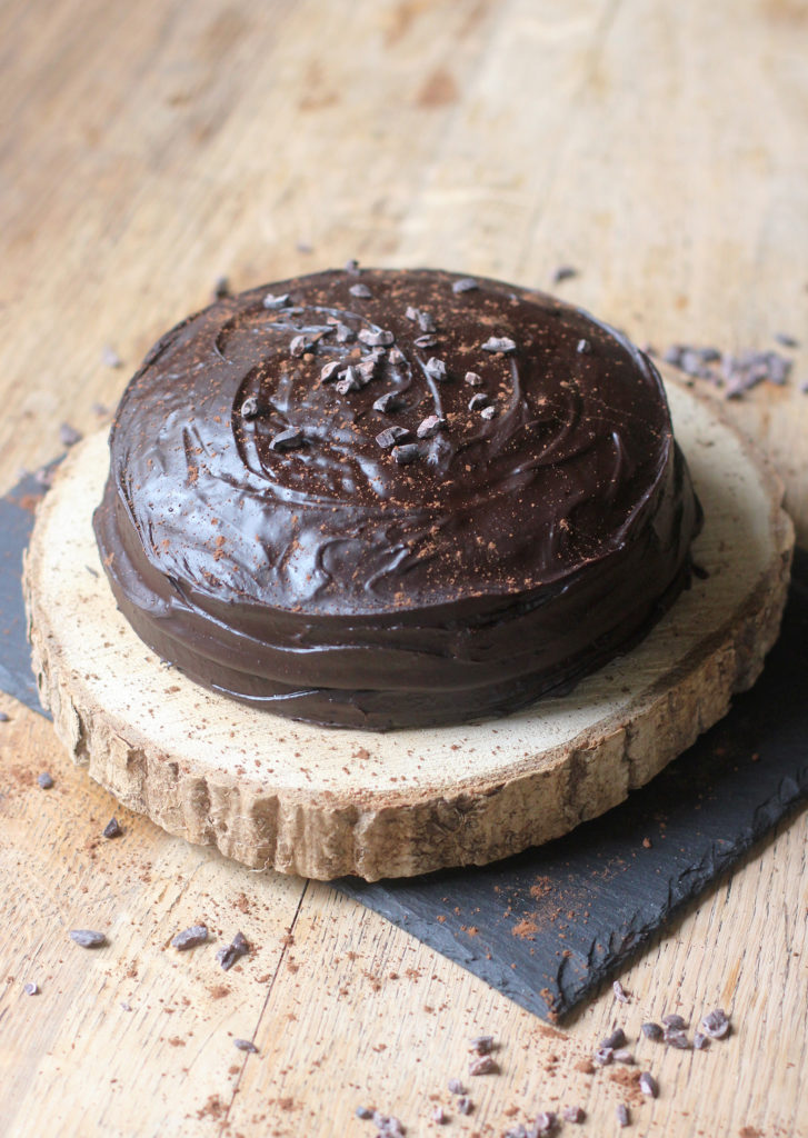 Gluten Free + Vegan Double Chocolate Fudge Cake
