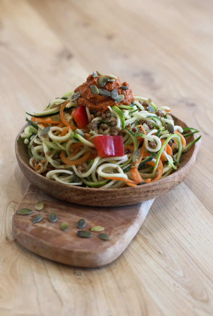 spicy tomato tahini spiralized salad