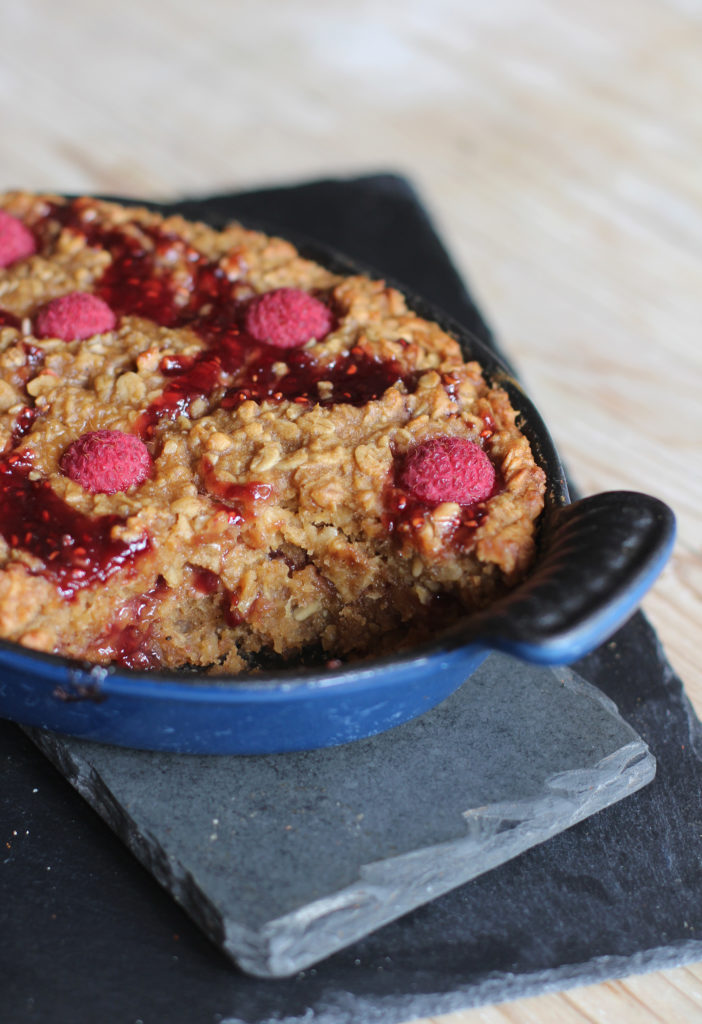 Raspberry Flapjack Pudding