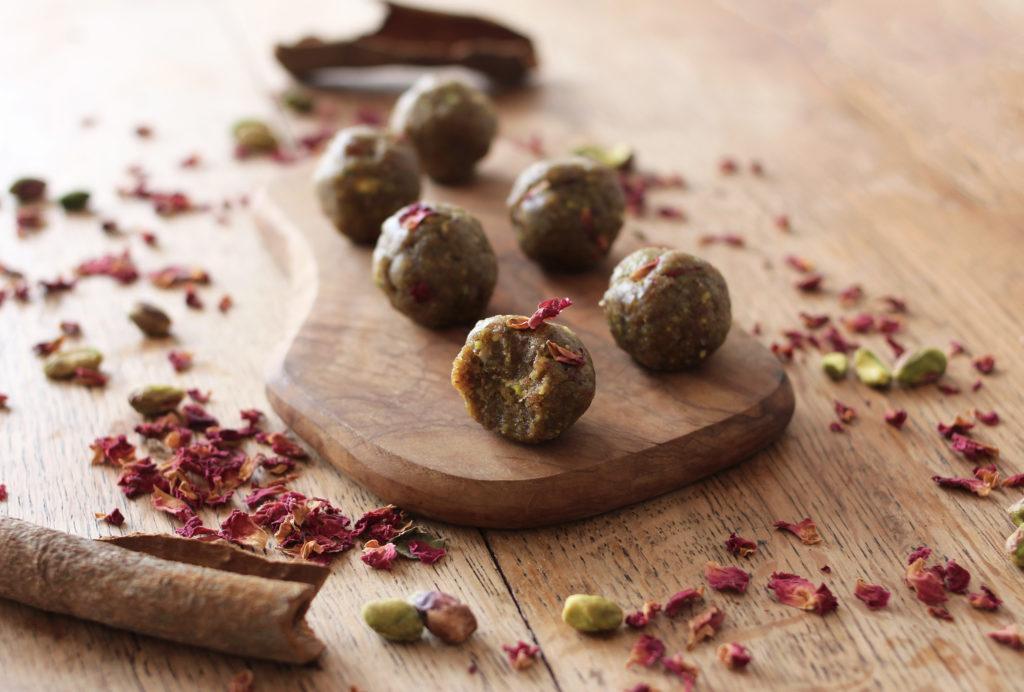 rose + pistachio energy bites