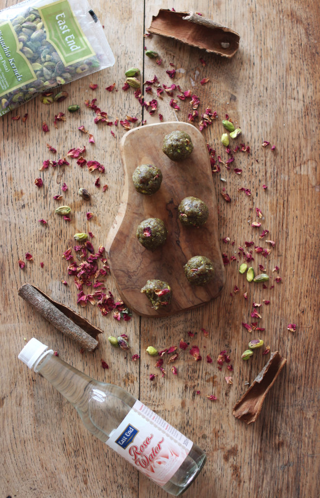 rose + pistachio energy bites